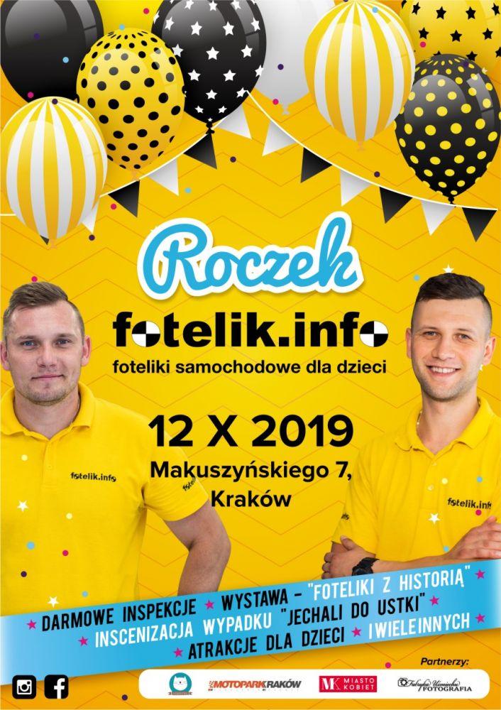 """fotelik.info Kraków: wystawa """"Foteliki z historią"""" i bezpłatne inspekcje fotelików. Świętuj z nami pierwsze urodziny!"""