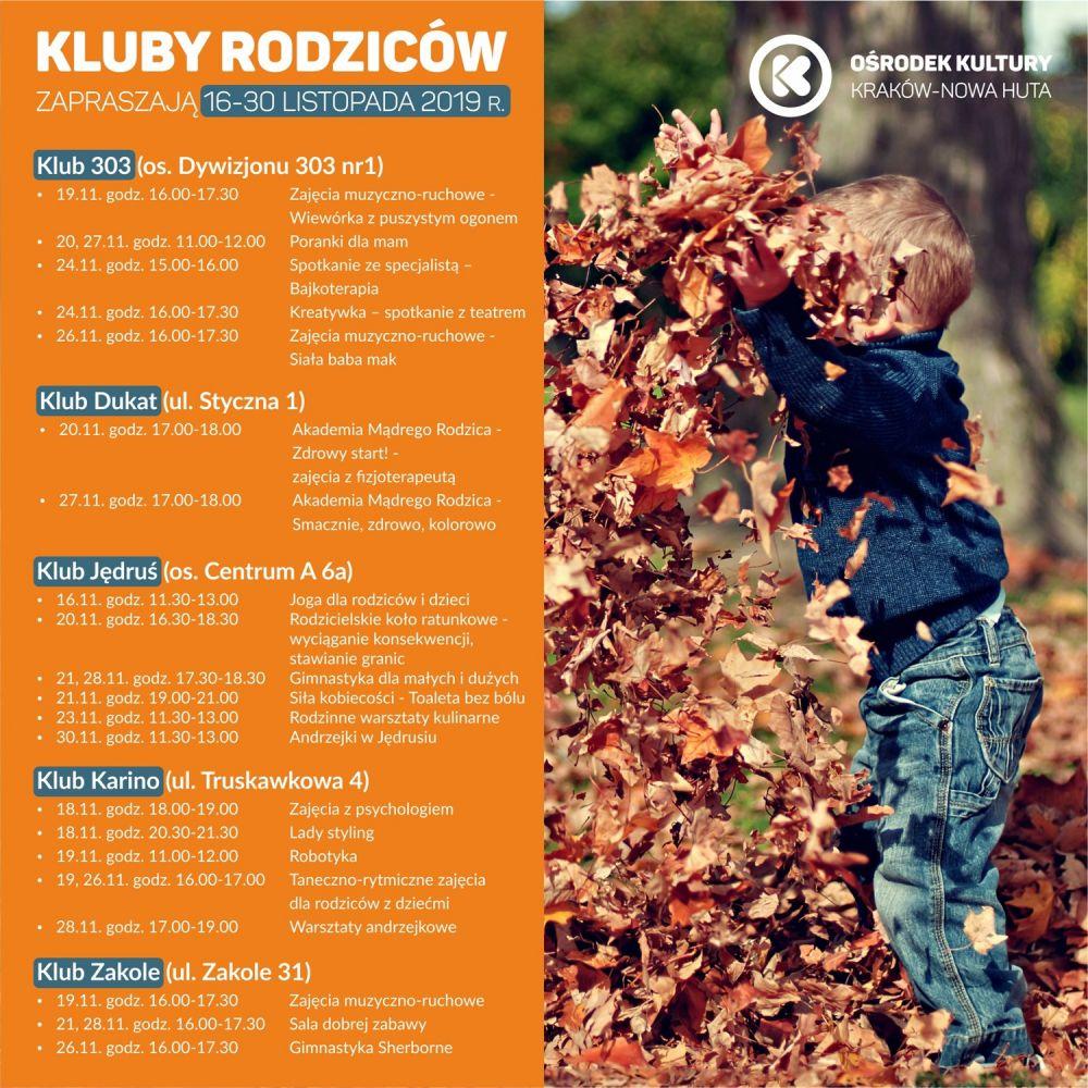 Kluby Rodziców w Ośrodku Kultury Kraków-Nowa Huta - 16-30 listopada 2019 r.