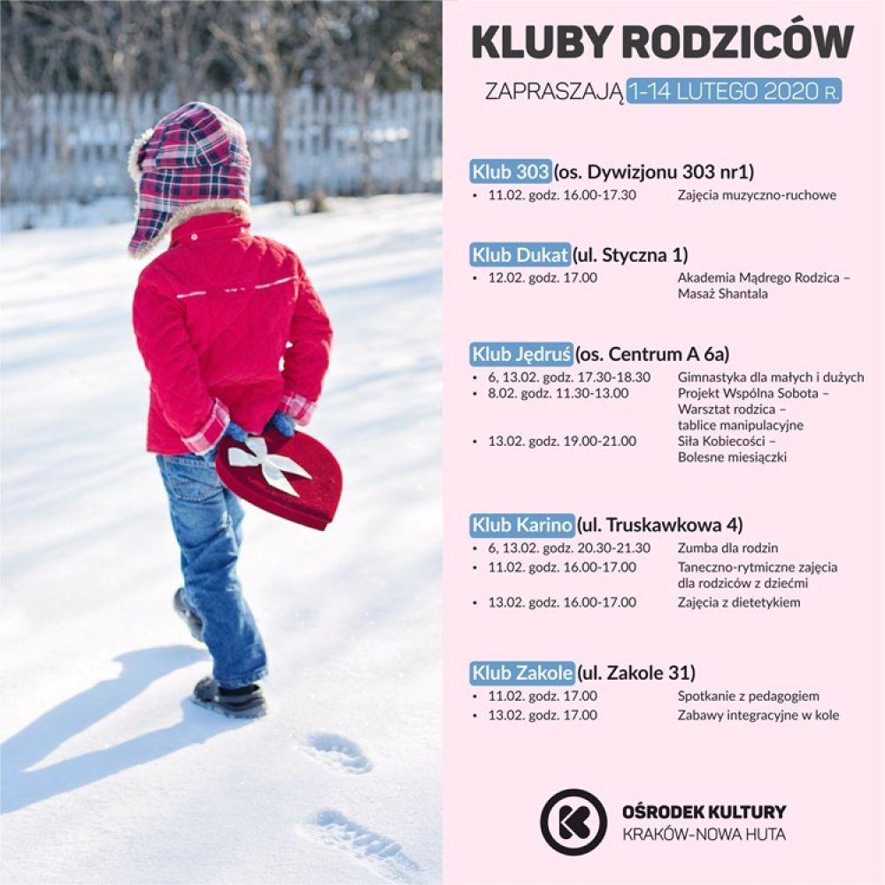 Kluby Rodziców w Ośrodku Kultury Kraków-Nowa Huta - 1-14 lutego 2020 r.