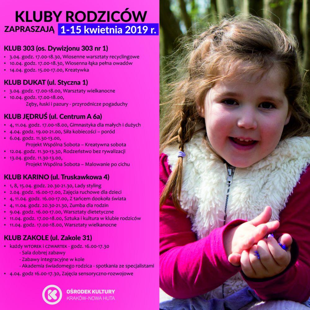 Kluby Rodziców w Ośrodku Kultury Kraków-Nowa Huta - 1-15 kwietnia 2019 r.