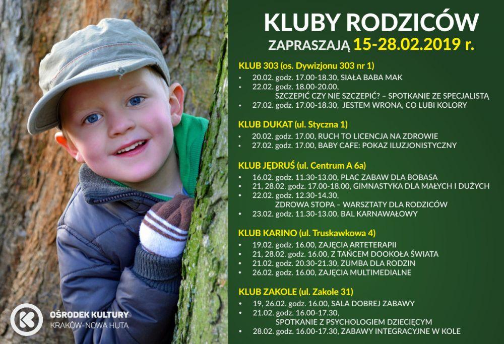 Kluby Rodziców w Ośrodku Kultury Kraków-Nowa Huta - 15-28 lutego 2019 r.