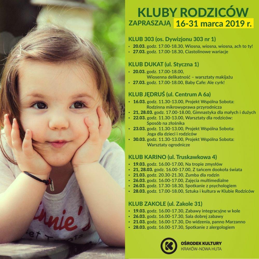 Kluby Rodziców w Ośrodku Kultury Kraków-Nowa Huta - 16-31 marca 2019 r.