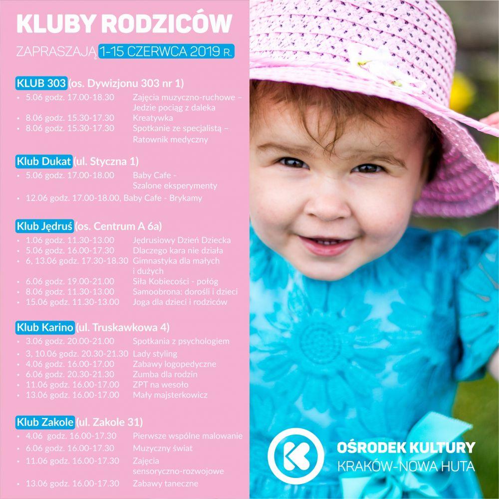 Kluby Rodziców w Ośrodku Kultury Kraków-Nowa Huta - 1-15 czerwca 2019 r.