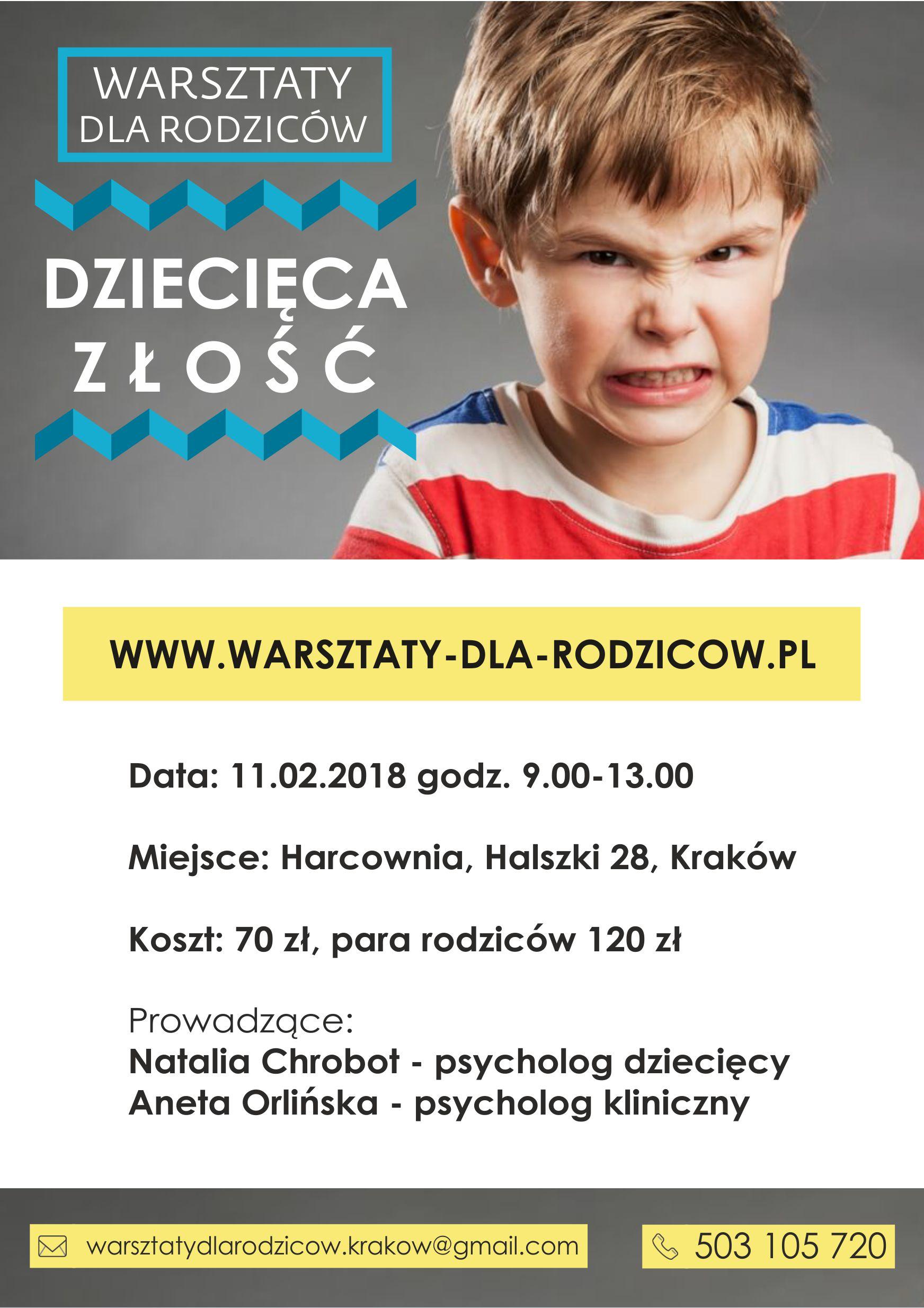 Warsztaty dla Rodziców - Dziecięca złość